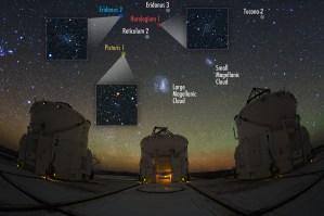 Six of the nine newly discovered dwarf satellite galaxies. (V. Belokurov, S. Koposov. Photo: Y. Beletsky.)