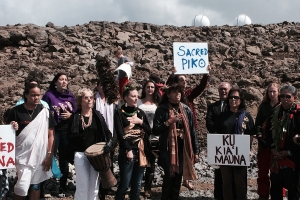 Native Hawaiians protesting the Thirty Meter Telescope. (Credit: AP Photo/Anne Keala Kelly)