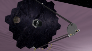 Artist's conception of proposed proposed High-Definition Space Telescope, which would have a giant segmented mirror and unprecedented resolution at optical and UV wavelengths. (NASA/GSFC)
