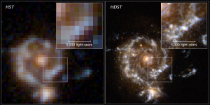 A simulated spiral galaxy as viewed by Hubble and the proposed High Definition Space Telescope at a lookback time of approximately 10 billion years. Image credit: D. Ceverino, C. Moody, G. Snyder, and Z. Levay (STScI)