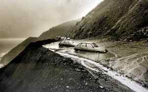 Vehicles get trapped in a mudslide on Highway 1 three miles south of Esalen on Feb. 13, 1987. The major winter storm caused this section of roadway to be closed for weeks. (Herald file photo)