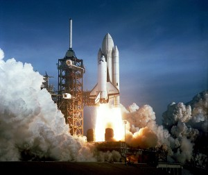 Space shuttle Columbia lifts off from Launch Pad 39A on 12 April 1981. (Credit: NASA)