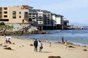 San Carlos Beach Park in Monterey on Monday. A recently released report from the Middlebury Institute of International Studies at Monterey points out that rising sea levels will be just one of the challenges facing coastal economies. (Vern Fisher — Monterey Herald)