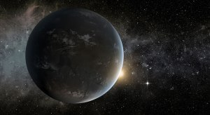 The super-Earth planet Kepler-62f (shown in this artist's concept) is located within the habitable zone of a star in the constellation Lyra, about 1,200 light-years from Earth. (Credit: NASA Ames/JPL-Caltech/Tim Pyle)