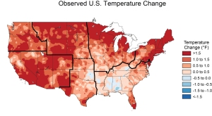 Map of temperature rises that have *already* occurred. (Credit: US National Climate Assessment / NASA)